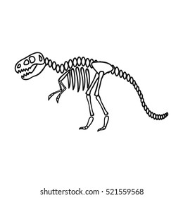 Tyrannosaurus rex icon in outline style isolated on white background. Museum symbol stock vector illustration.