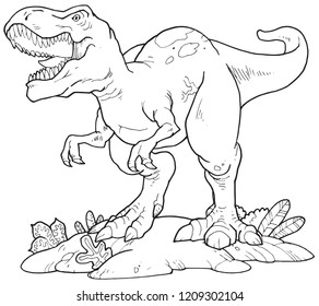A tyrannosaurus rex outline vector suitable for any graphic design project, education or kids coloring activity.