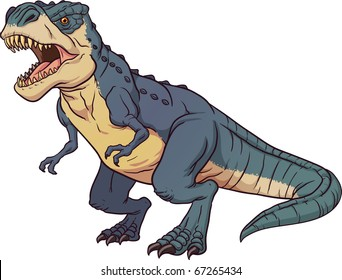 Tyrannosaurus Rex roaring. Vector illustration with simple gradients. All elements in a single layer.