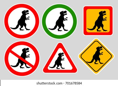 Tyrannosaurus rex sign on gray background. Funny sign. Set stickers, tyrannosaurus silhouette vector.