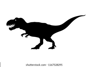 Tyrannosaurus Rex silhouette. Сarnivorous dinosaur. T-rex walking and roaring. Hand drawn vector illustration isolated on white background.