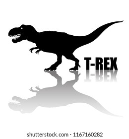 Tyrannosaurus Rex. Silhouette with transparent reflection. Сarnivorous dinosaur. T-rex walking and roaring. Hand drawn vector illustration isolated on white background.