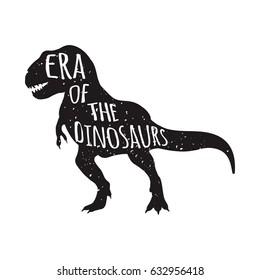 Tyrannosaurus Rex silhouette vector illustration with era of the dinosaurs lettering