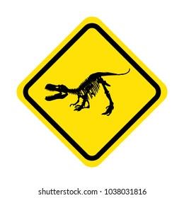 tyrannosaurus rex skeleton fossil on yellow warning sign, isolated dinosaur vector illustration on white background