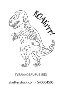 Tyrannosaurus Rex Skeleton Outline Drawing Fossil Of A T Dinosaur Coloring