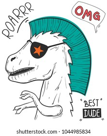 Tyrannosaurus Rex with sunglasses and hand drawn typography, slogan, vector illustrations for t-shirt prints, fashion tee.