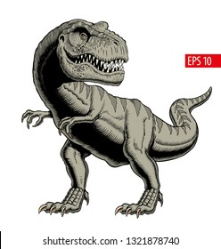 Tyrannosaurus rex or t rex isolated on white. Comic style vector illustration.