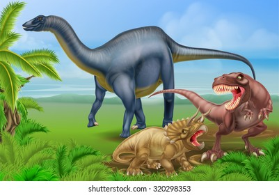 A tyrannosaurus Rex or T Rex and triceratops dinosaur in combat with a Diplodocus in the background dinosaur scene