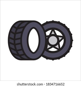 Tyre Flat Icon Color Design Vector Template Illustration