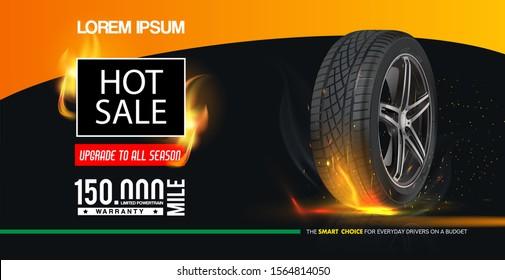 Tyre. Hot sale poster. Tire car advertisement banner. Information. Store. Action. Landscape poster. Flyer. Booklet. Brochure. Web design. Marketing. Realistic vector shining disk car wheel.