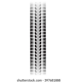 Tyre mark isolated on white background. Vector art.