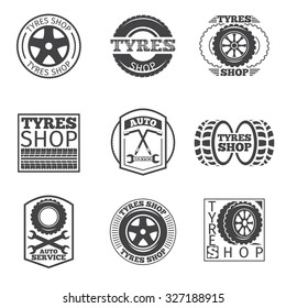 Tyre store logo. Vintage car vector label. Shop and wheel service, auto and vehicle, vulcanization automobile, vector illustration