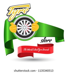Tyre store or repair logo with red ribbon. Modern, solid and flat color style design vector.
