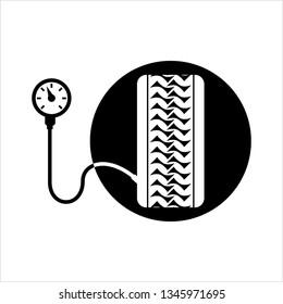 Tyre (Tire) Pressure Gauge Icon Vector Art Illustration
