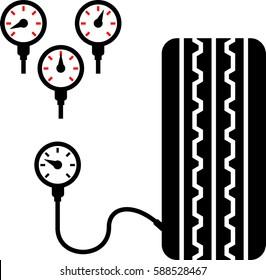 Tyre (Tire) Pressure Gauge Icon Vector Illustration