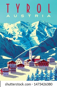 Tyrol Austria Travel Poster. Handmade drawing vector illustration. Pop art vintage style. All objects are grouped into different layers.