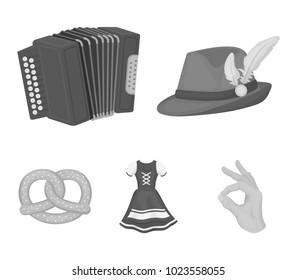 Tyrolean hat, accordion, dress, pretzel. Oktoberfest set collection icons in monochrome style vector symbol stock illustration web.