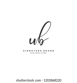 U B UB Initial letter handwriting and  signature logo concept design