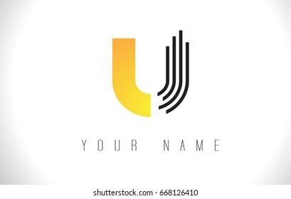 U Black Lines Letter Logo. Creative Line Letters Design Vector Template.