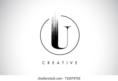 U Brush Stroke Letter Logo Design. Black Paint Logo Leters Icon with Elegant Circle Vector Design.
