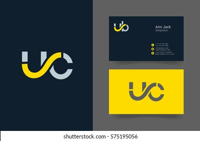 U & C Letter logo design vector element with Business card