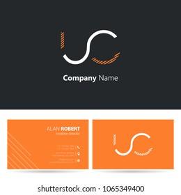 U & C stroke letter logo design with business card template