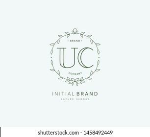 U C UC Beauty vector initial logo, handwriting logo of initial signature, wedding, fashion, jewerly, boutique, floral and botanical with creative template for any company or business.