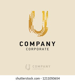 U company logo design with visiting card vector