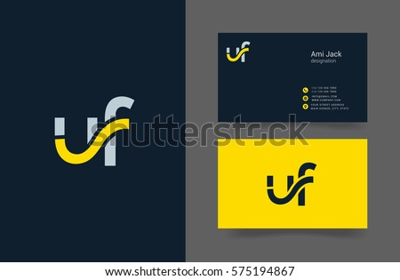U F Letter Logo Design Vector Element With Business Card