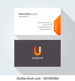 U Letter Alphabet logo corporate business card design template
