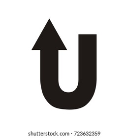 U letter with arrow  vector logo