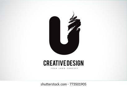 U Letter Design Brush Paint Stroke. Letter Logo with Black Paintbrush Stroke.