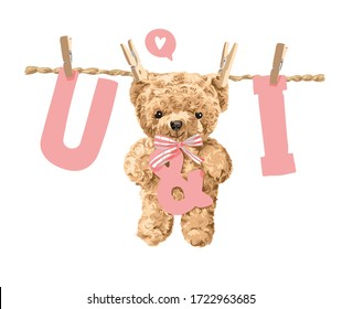 u and i letter hanging with bear toy illustration