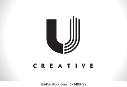 U Letter Logo With Black Lines Design. Line Letter Symbol Vector Illustration