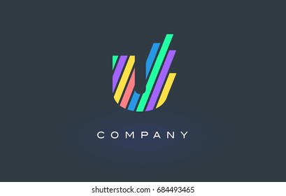 U Letter Logo Design with Colorful Rainbow Lines Vector. Rainbow Letter Icon Illustration