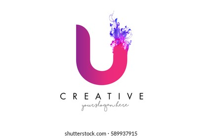 U Letter Logo Design with Ink Cloud Flowing Texture and Purple Colors.