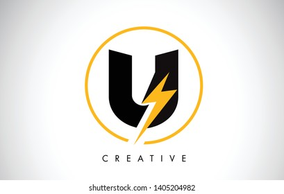 U Letter Logo Design With Lighting Thunder Bolt. Electric Bolt Letter Logo Vector Illustration.