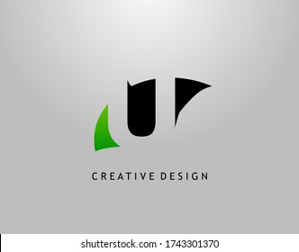 U Letter Logo. Modern Abstract  of Initial U With Simple Leave Shape. Eco Nature Concept Design.