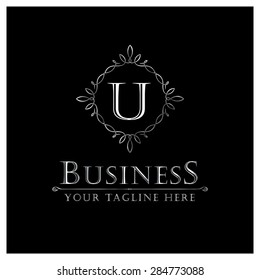 U letter Luxury Logo template flourishes calligraphic elegant ornament lines. Business sign, identity for Restaurant, Royalty, Cafe, Hotel, Heraldic, Jewelry, Fashion and other vector illustration