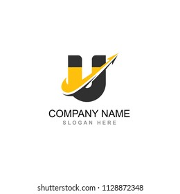 u letter magnet with arrow upward circle line wave connection group vector logo design