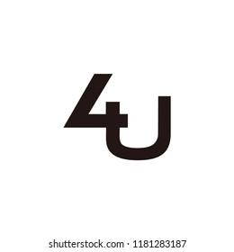 u letter with number 4 vector logo. u letter and four number