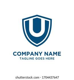 U Letter Shield Logo Vector Design Template