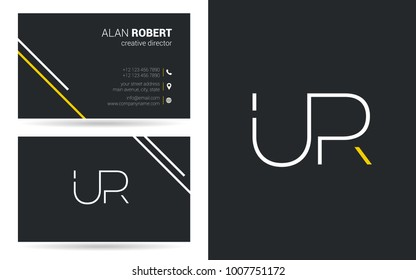 U & R joint logo stroke letter design with business card template