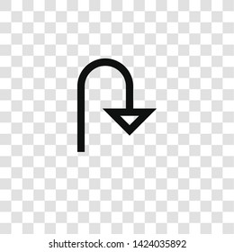 u turn icon from miscellaneous collection for mobile concept and web apps icon. Transparent outline, thin line u turn icon for website design and mobile, app development