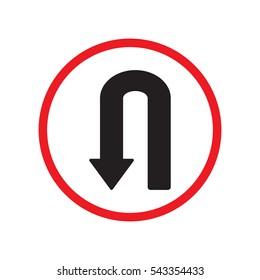 u turn left direction sign vector