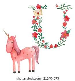 U and unicorn. Romantic floral alphabet with cartoon animals, watercolor ar print.