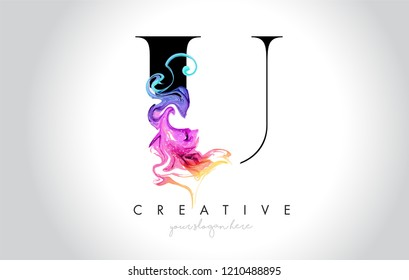 U Vibrant Creative Letter Logo Design with Colorful Smoke Ink Flowing Vector Illustration.