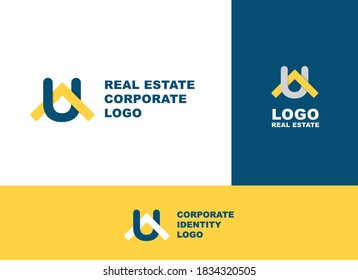 UA initial monogram logo vector real estate