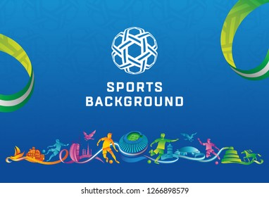 UAE 2019 Abstract Sports Background  Colorful with eagle and player icons vector illustration