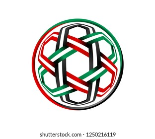 UAE 2019 geometric arabic pattern Green, Red, Black